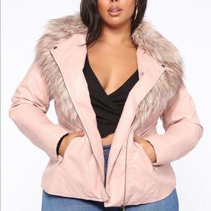 Faux fur leather jacket - Blush  (fashion nova)